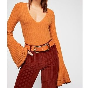 Free People May Morning Bell Sleeve Ribbed Sweater